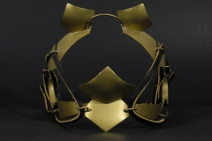 """Blinders, brass and leather.  7""""x6""""x7"""""""