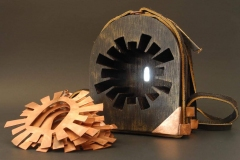 """Incompass, copper, wood, leather, stain 5"""" x 4"""" x 3.5"""""""